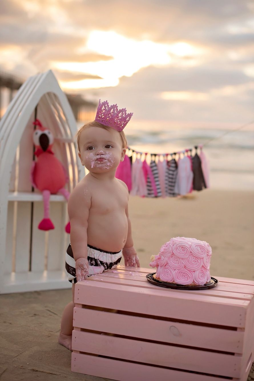 beach cake smash! amelia's 1st birthday photos. san diego, ca