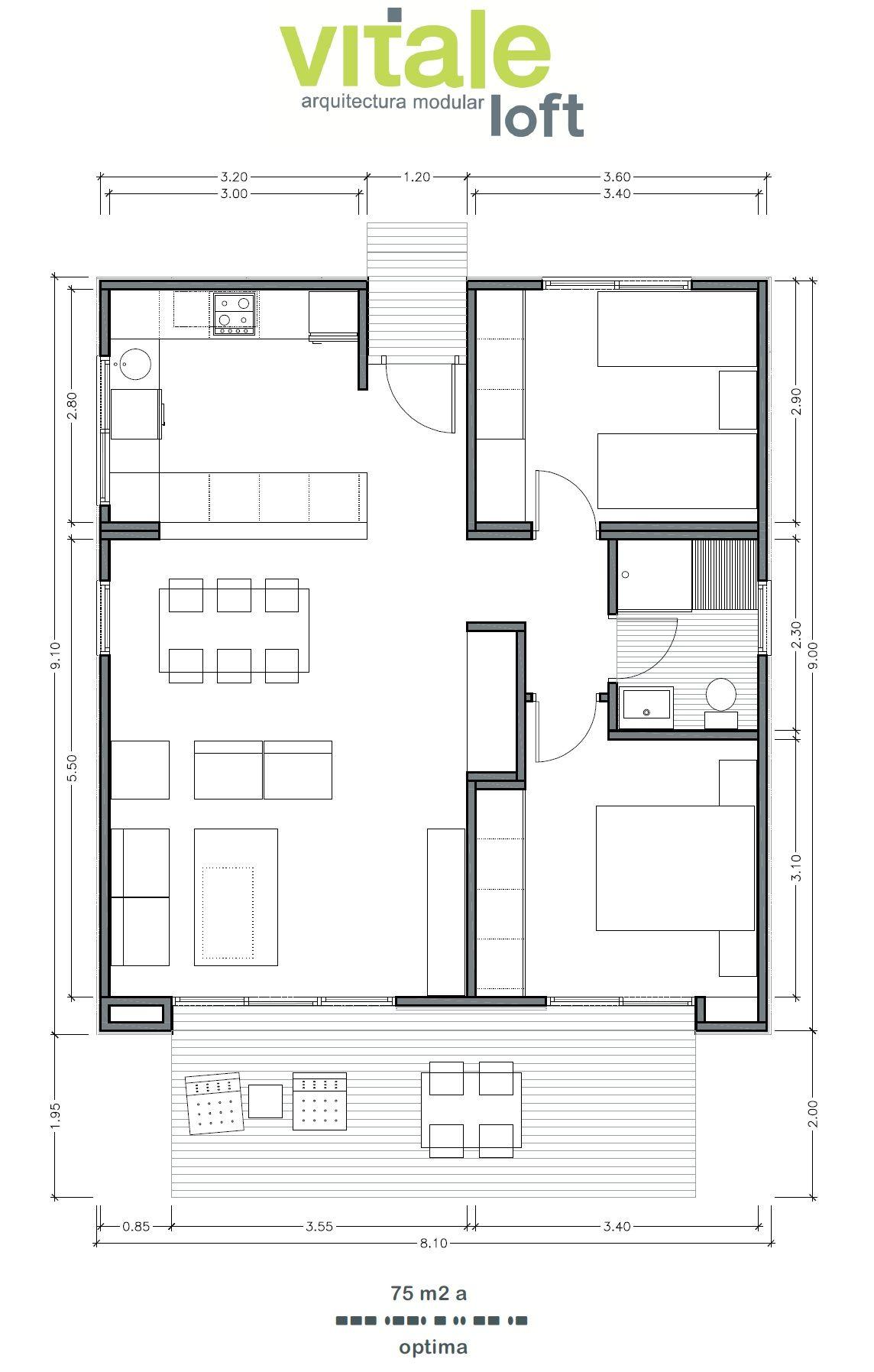 Casas prefabricadas modulares de hormig n modelo optima for Casas prefabricadas pequenas