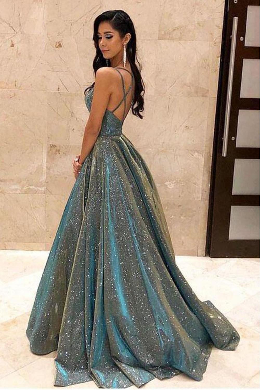 A Line V Neck Sparkling Long Prom Dress Formal Evening Dresses 601504 Trendy Prom Dresses Stunning Prom Dresses Cute Prom Dresses [ 1500 x 1000 Pixel ]