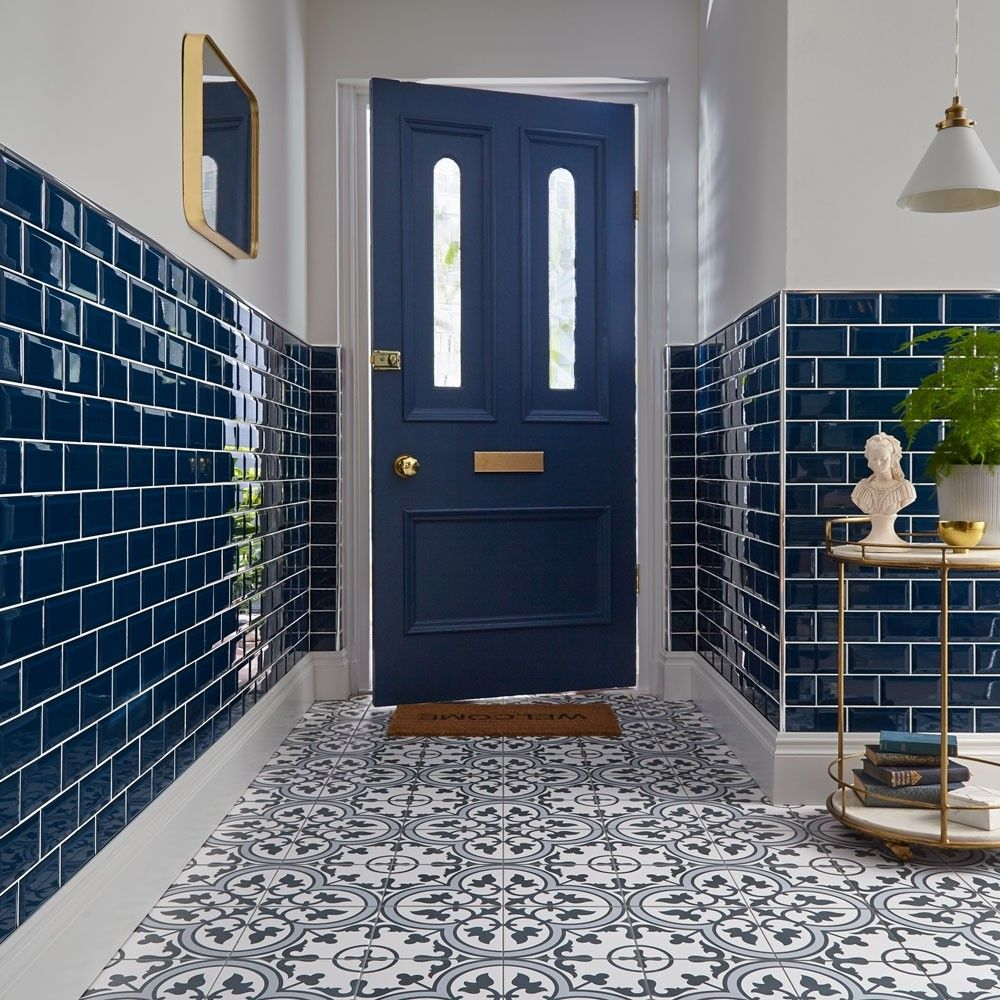Ledbury Marina Blue Pattern Tiles Dark Blue Tile Tiled Hallway Tile Trends