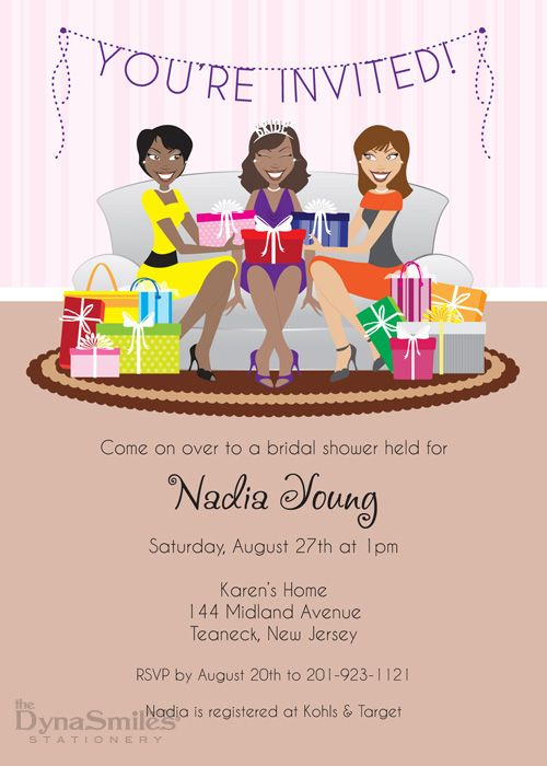 fun bridal shower invitation african american girls sitting on couch with gifts