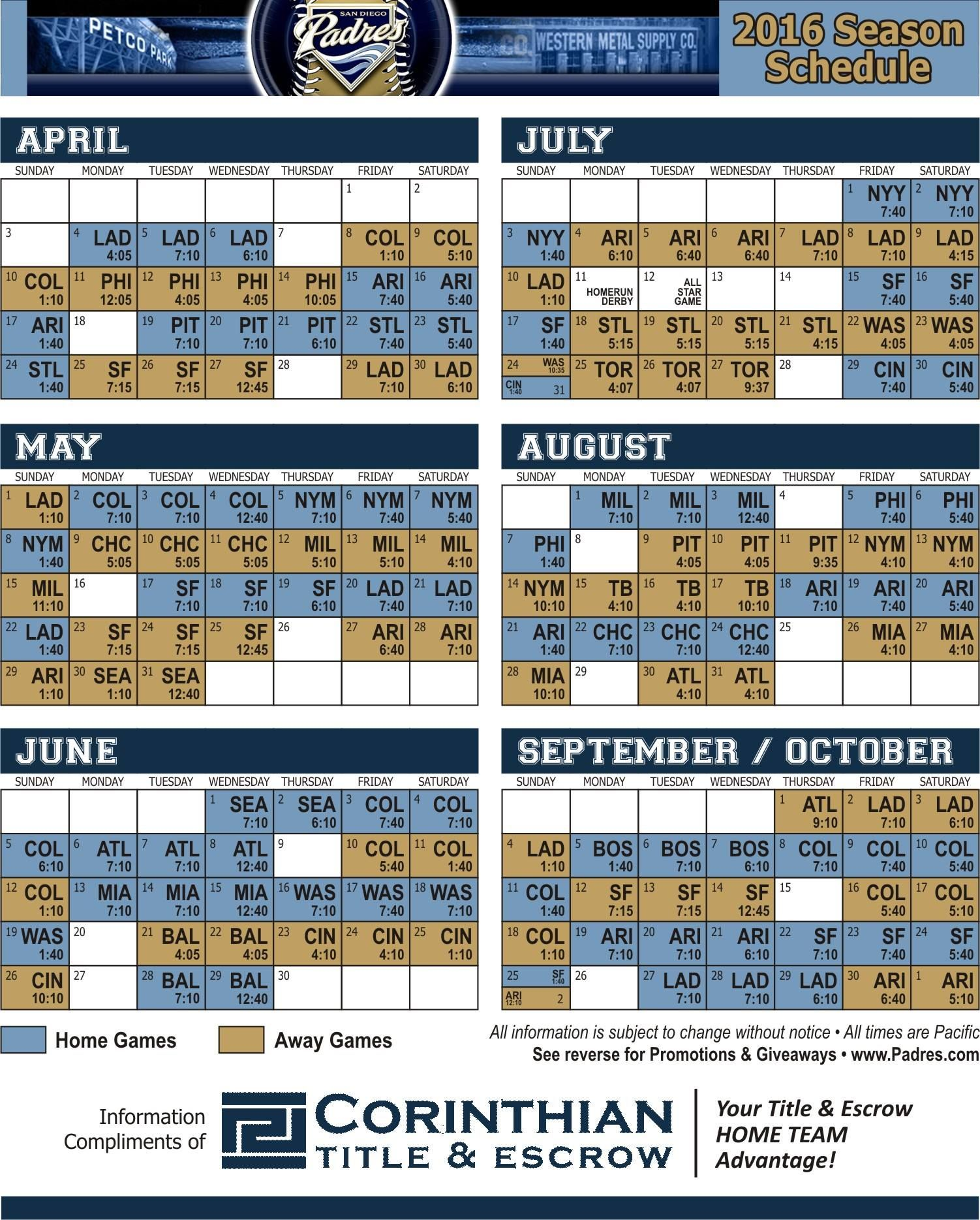 Padres Schedule 2016 Padres Friday Saturday Sunday Sunday Monday Tuesday