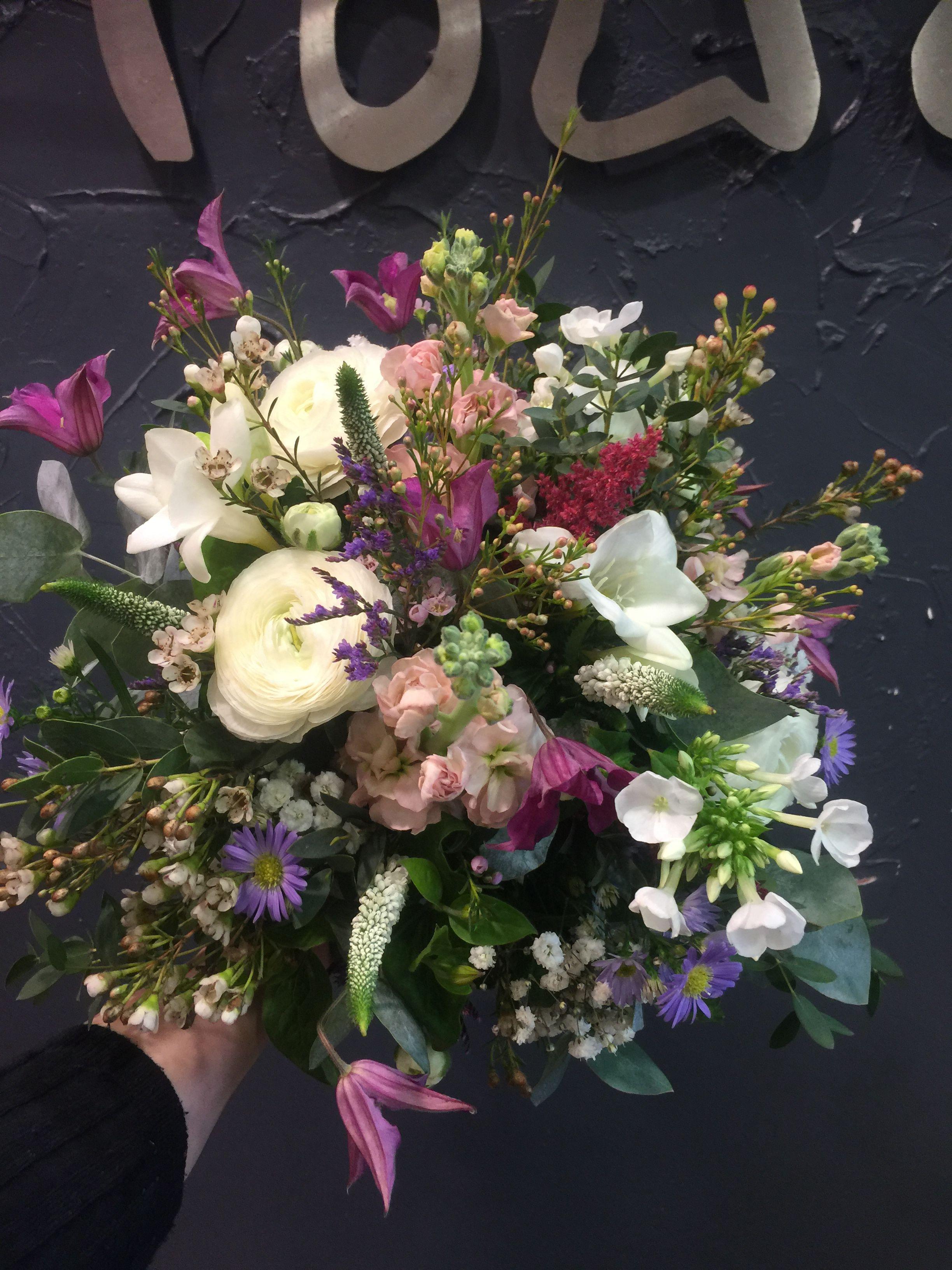 Wedding Bouquet White Ranunculus Antique Stock Purple Clematis