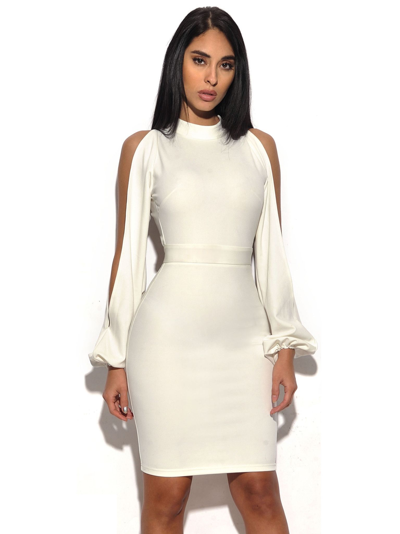 222079e4750 This elegant white bodycon dress is perfect for all your white parties. It  showcases flowy cut out sleeves and an open back.