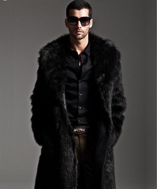 ea3a2bc2244 Men Fur Coat Winter Faux Fur Outwear On One Sides Coat Men Punk Parka  Jackets Long Leather Overcoats Genuine Fur Brand Clothing
