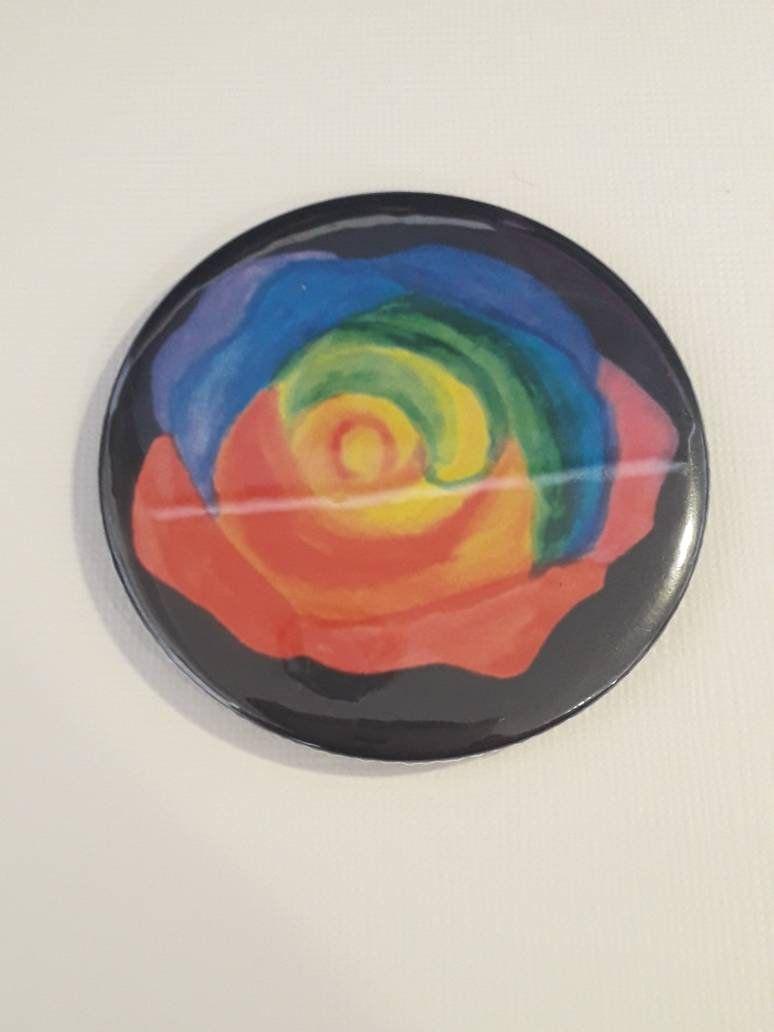 Rainbow rose mirror - 58mm pocket mirror #rainbowroses