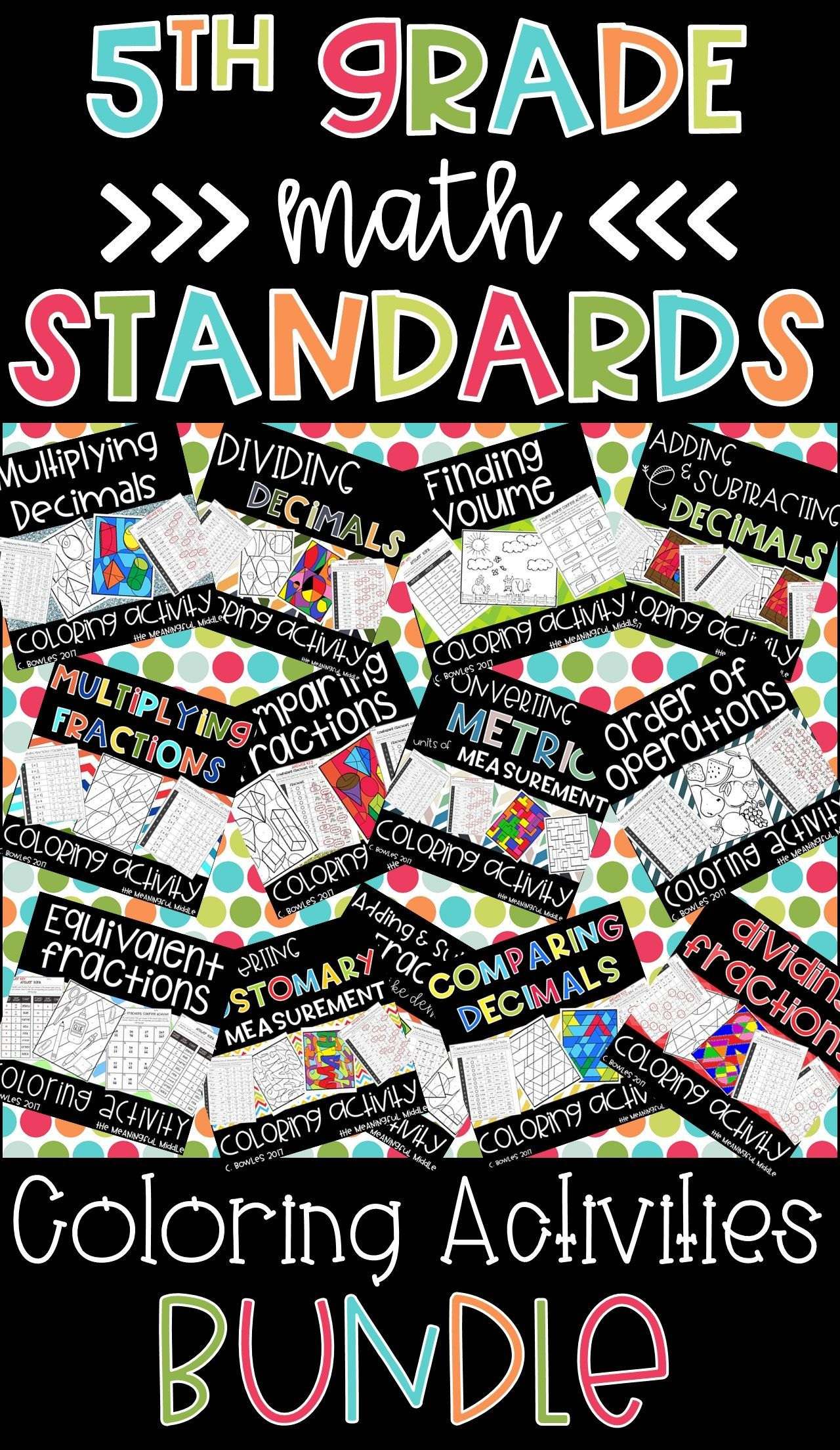 5th Grade Math Standards Coloring Activities Bundle