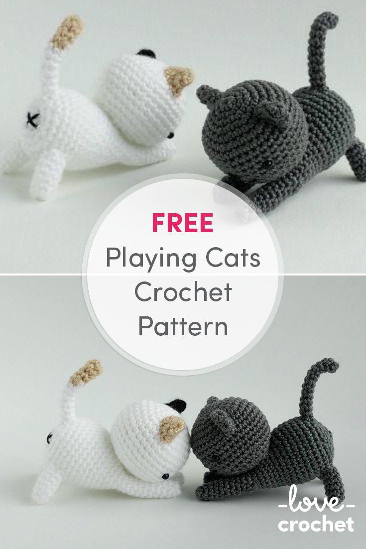 Free Playing Cats Crochet Amigurumi Pattern - Little Bear Crochets | 1102x735