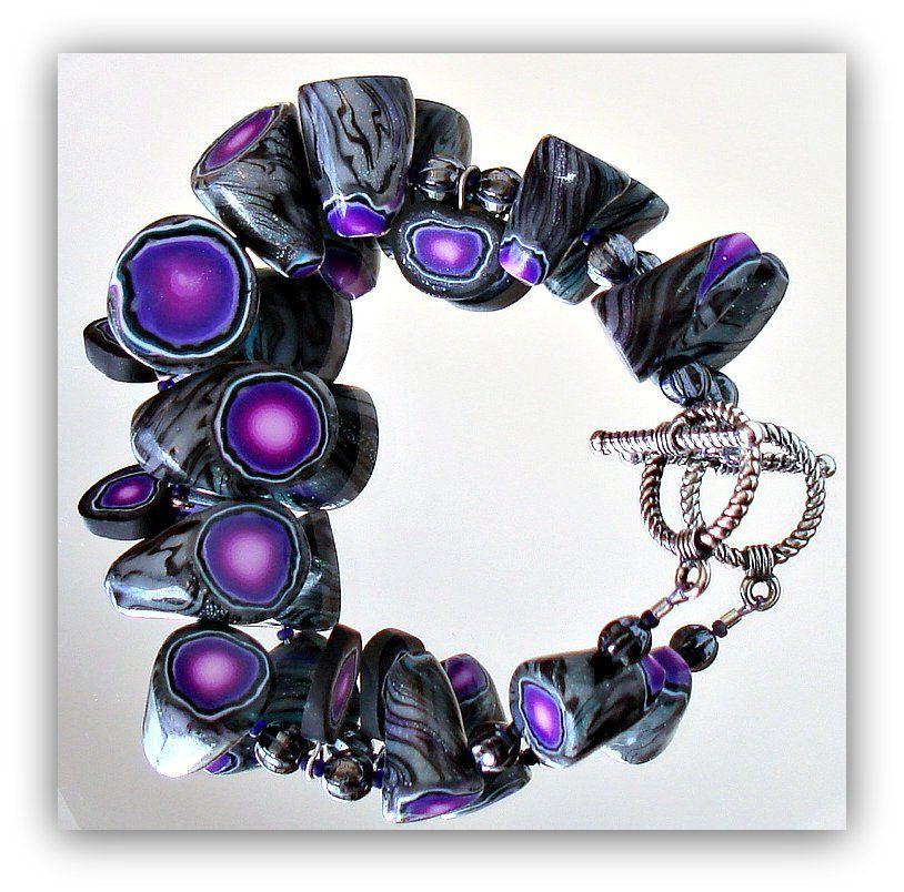 Faux Geode Bracelet...polymer clay jewelry