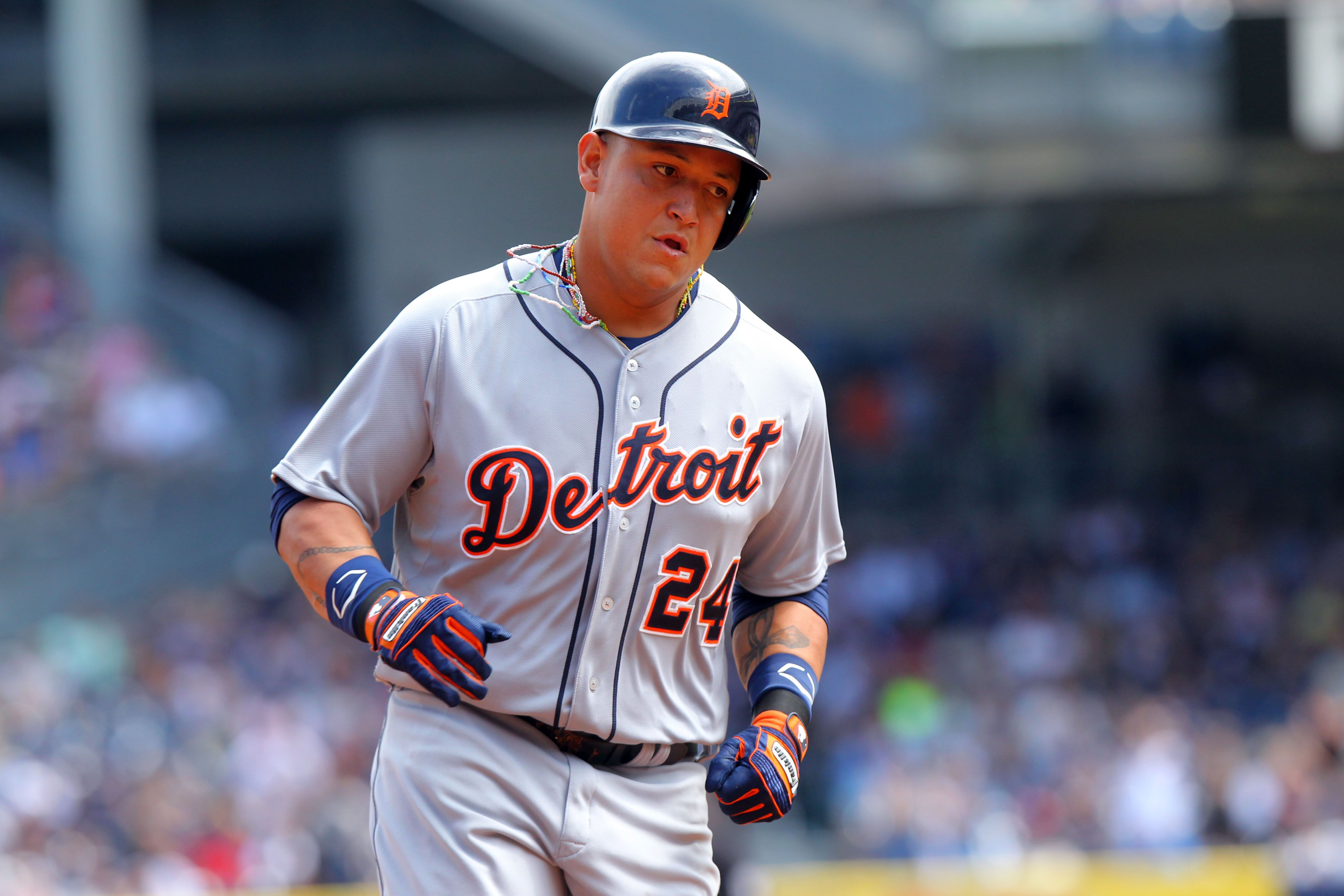 Detroit tigers third baseman miguel cabrera rounds the