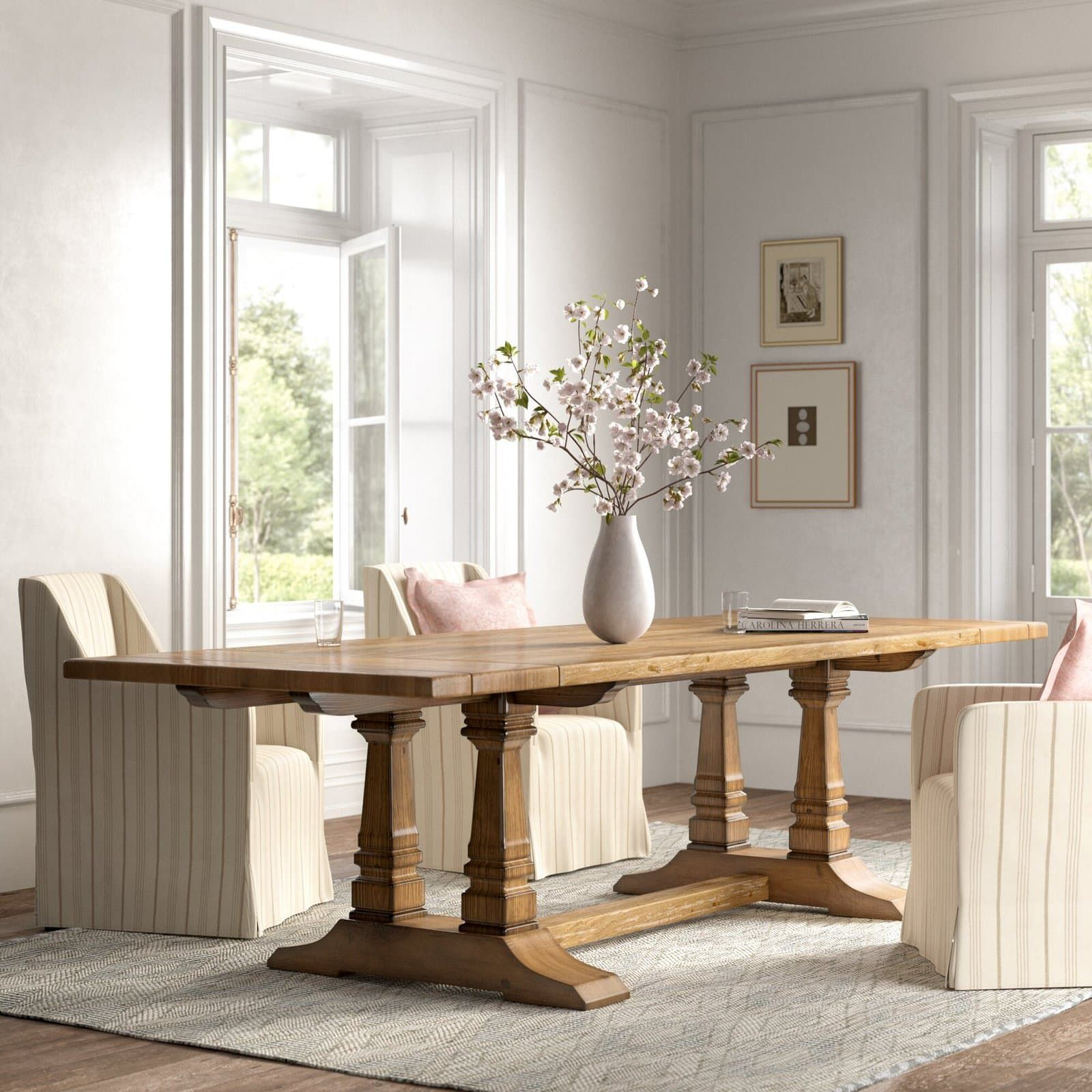 35++ White farmhouse extendable dining table most popular