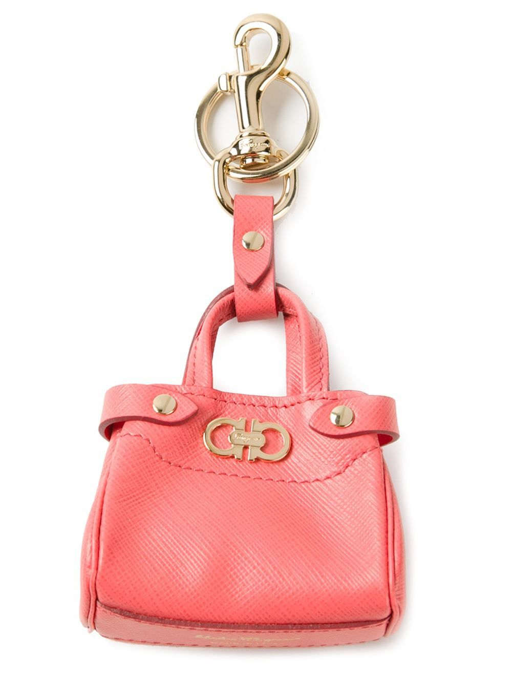 Pink leather purse key holder from Salvatore Ferragamo featuring gold-tone  hardware and a small logo purse. 2ac3b4df50437