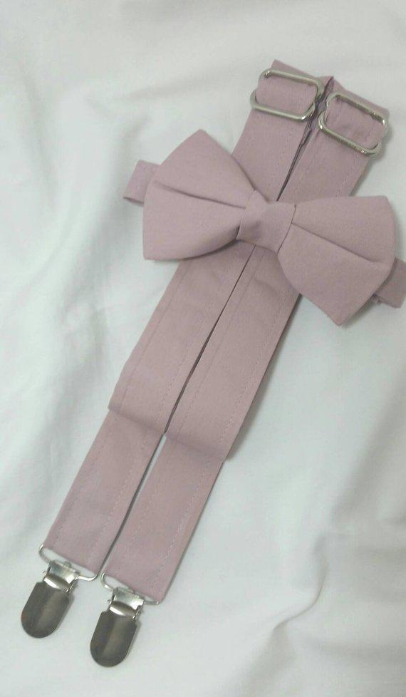 7a0c62846135 Mauve Suspenders and Mauve Bow Tie. Bridal Color Quartz. Sizes Infant-Adult.  Free Fabric Sample Available.