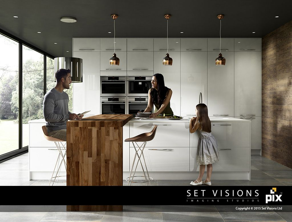 White slab kitchen with copper detailing and family. Solid wood adds ...