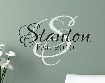 Family Name Decal Vinyl Lettering Wedding Gift Decal Personalized Family Name Vinyl Wall Decals Family Wall Decal