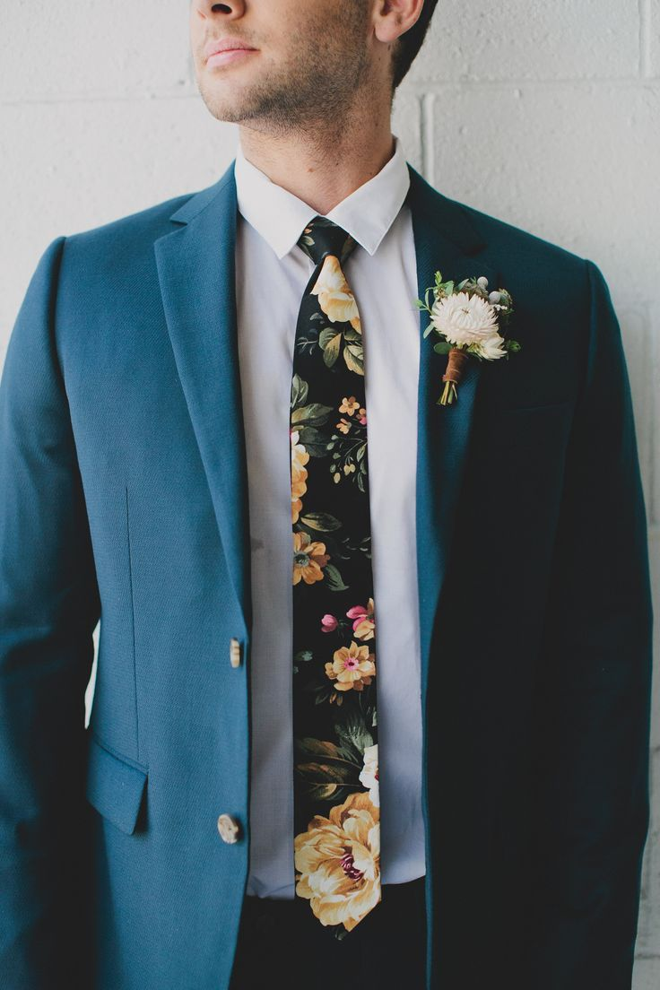 For the groom // hipster blue suit floral tie #groomattire | Grooms ...