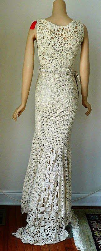 crochelinhasagulhas: Vestido longo de crochê