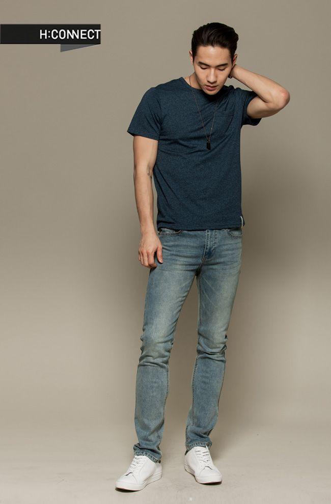 H:CONNECT 韓國品牌 男裝 - 素色混紡短袖上衣-藍 - Yahoo!奇摩購物中心