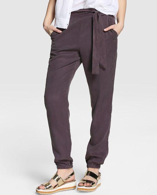 Pantalón amplio de mujer Yerse en gris