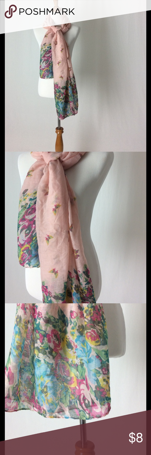 Pink butterfly spring scarf with flowers No snags. Pretty easter spring scarf with flowers and butterflies Accessories Scarves & Wraps