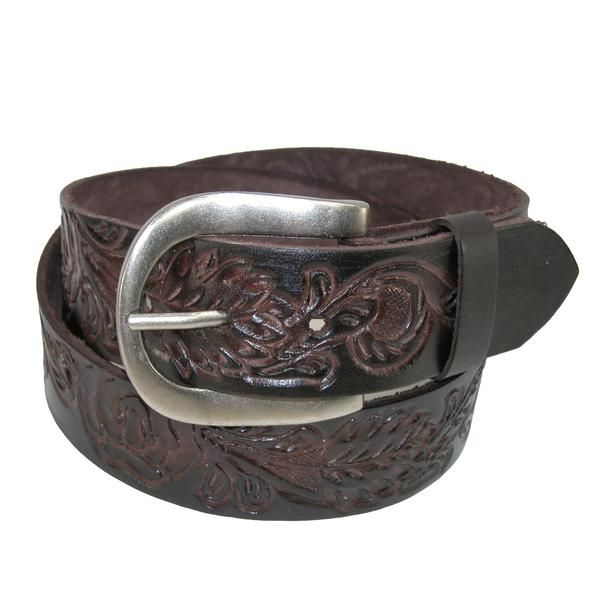 Casual bridle belt is made of one piece genuine leather that is hand tooled with a floral theme. Tooling and tones add depth to the look of this belt. The removable buckle is in an antiqued nickel finish.