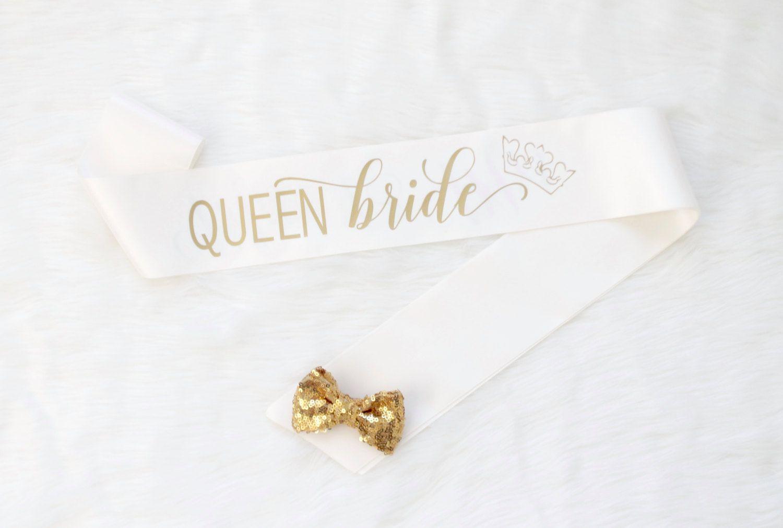 Queen Bride Bachelorette Sash - Ivory & Gold Bachelorette Sash - Bachelorette Party - Bride Gift - Bride Sash - Bridal Shower by GoldandGlamour on Etsy