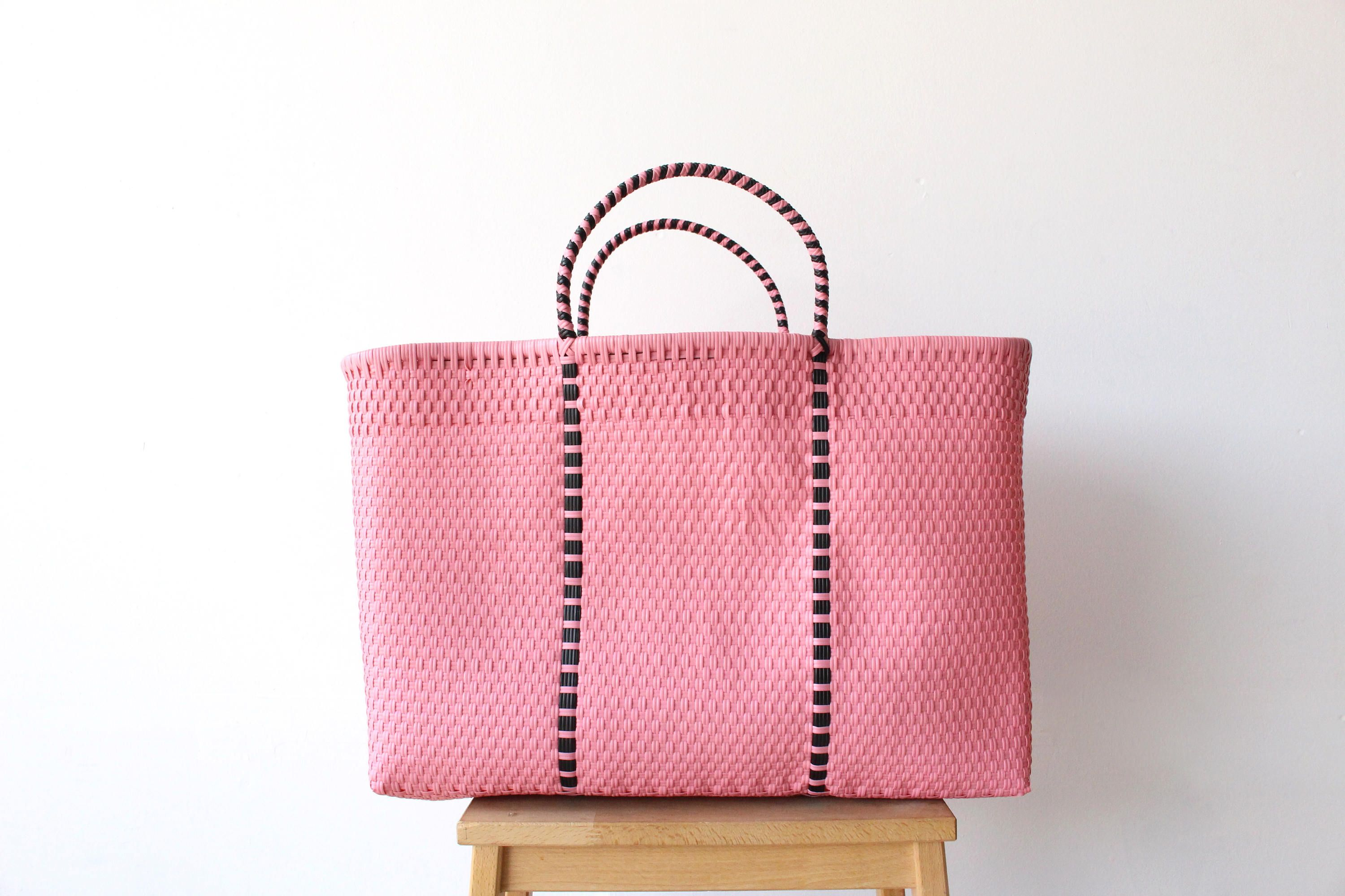 Light Pink Black Mexico Beach Bag Handwoven Mexican Tote