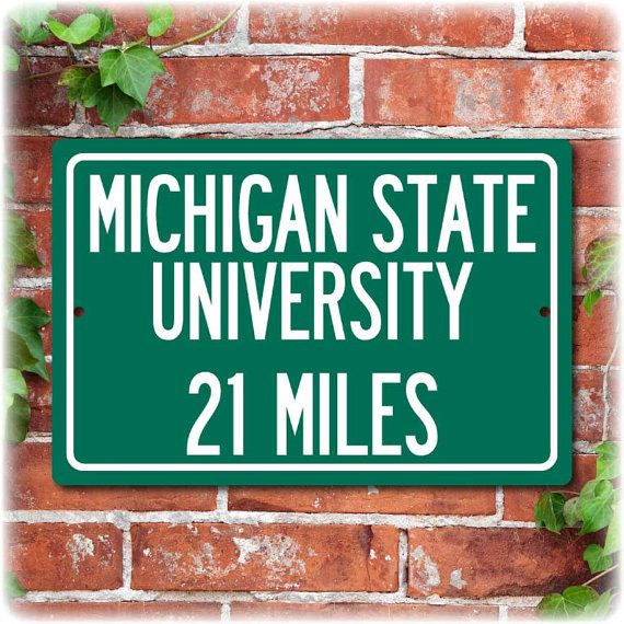 Personalized University Highway Distance Sign Michigan State