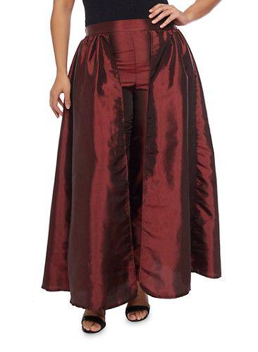 Plus Size Taffeta Dress Pants with Skirt Overlay,BURGUNDY ...