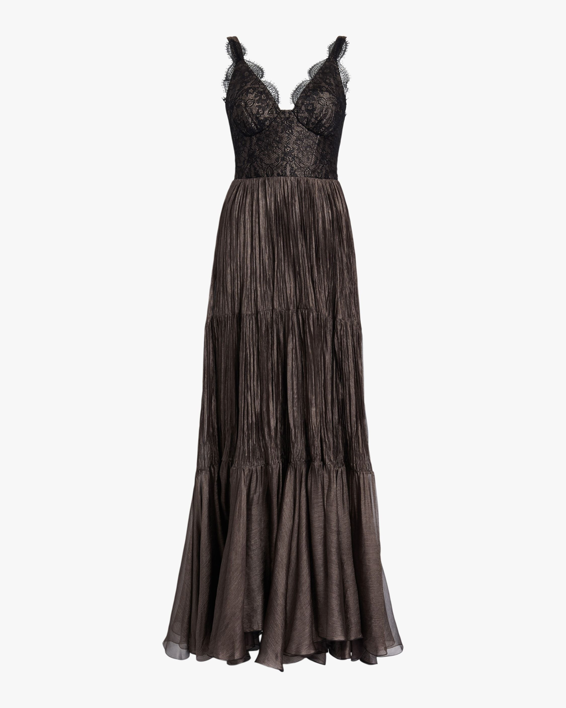This stunning silk gown features a fitted lace bodice with scalloped detailing and a floor-length pleated skirt. 100% silk Steam clean Made in Romania   Women's Maria Lucia Hohan Kendi DressCarbon 34   Silk