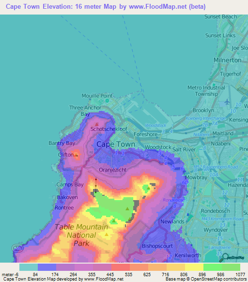 Cape TownSouth Africa Elevation Map Ebbas World Pinterest - Africa altitude map