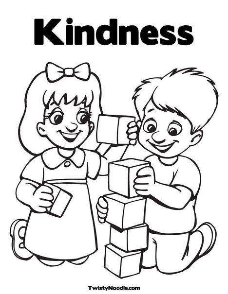- Kindness Coloring Page Friendship Theme, Preschool Coloring Pages,  Preschool Friendship