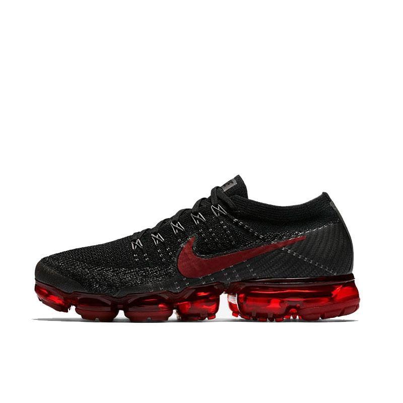 Nike Air Max Vapor Fly Knit Men S Running Shoes Black Crimson In 2020 Running Shoes For Men Nike Air Nike Air Vapormax