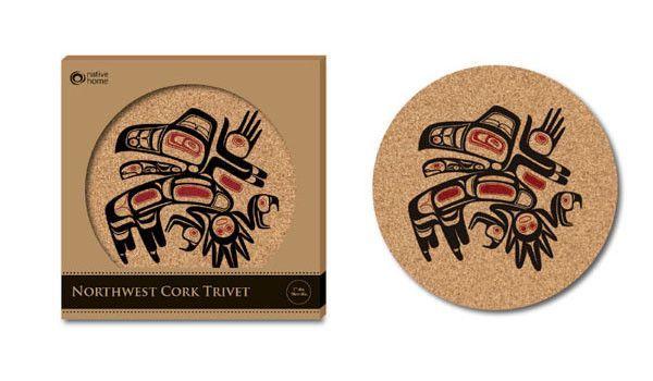 Cork Trivet - Running Raven by Morgan Green, Tsimshian