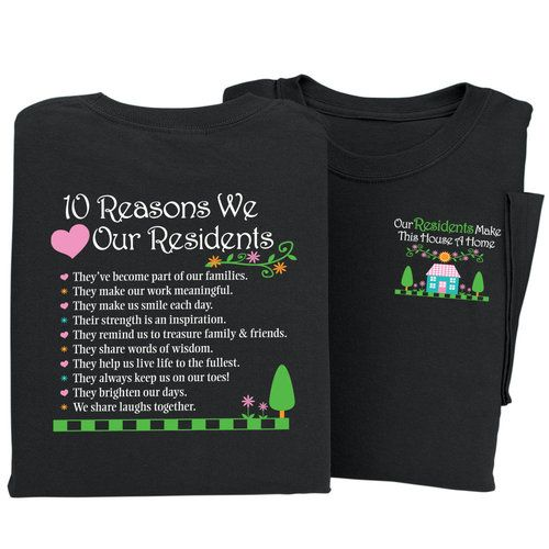 National Nursing Home Week 2020.10 Reasons We Love Our Residents 2 Sided T Shirt Work