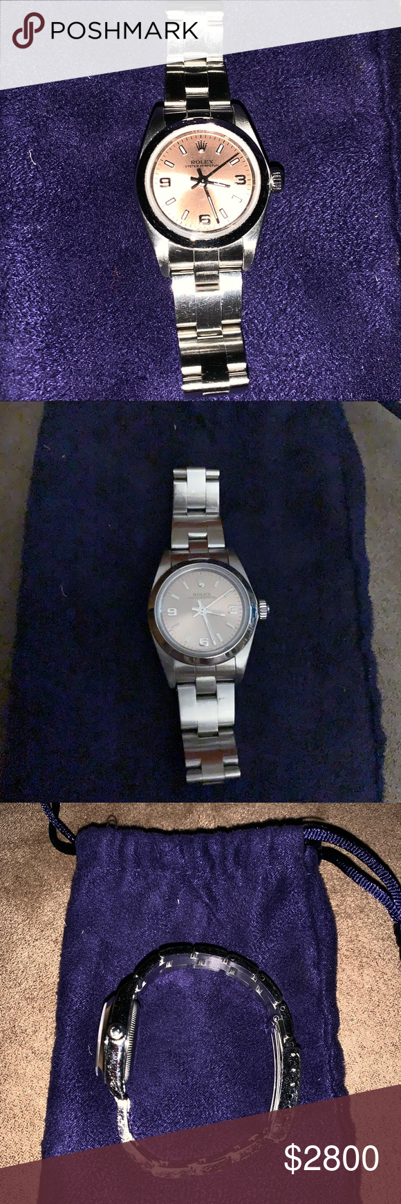 24 mm Lady Rolex Stainless Steel Oyster Perpetual Pink
