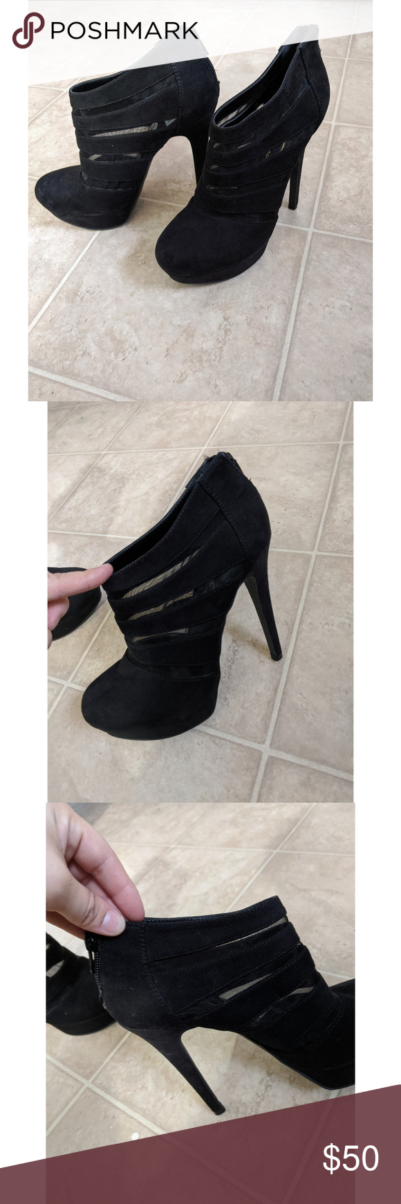 New Jessica Simpson Black Ankle Boots Sheer Mesh In 2020 Black Ankle Boots Ankle Boots Boots