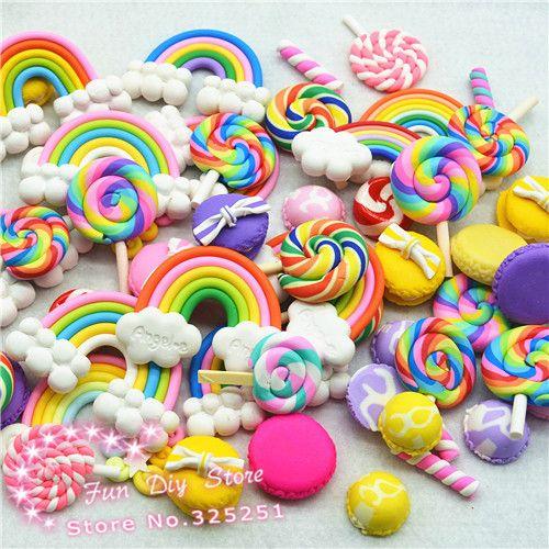 10PCS Colorful Mixed Assorted Rainbow Cloud Polymerclay Flatback Cabochon Decor