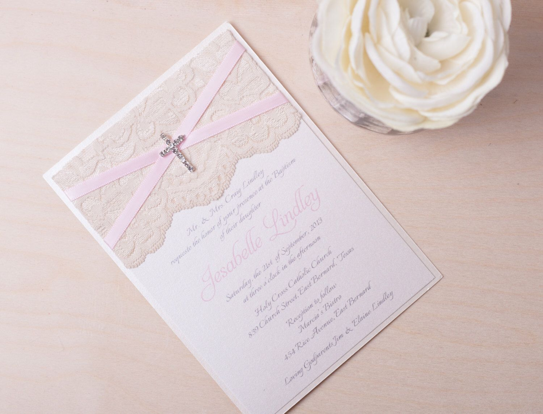 Laila baby pink lace baptism invitation pink christening christening invitations stopboris Images