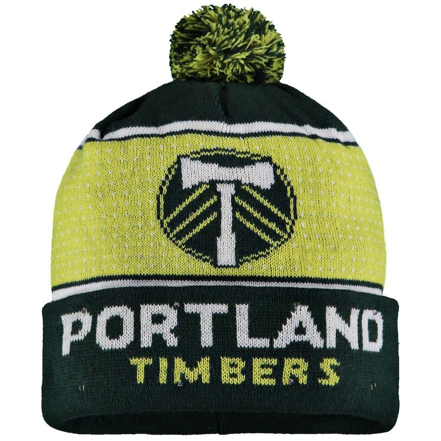 2377ec46ee0 Men s Portland Timbers Green Big Logo Light-Up Cuffed Knit Hat with ...
