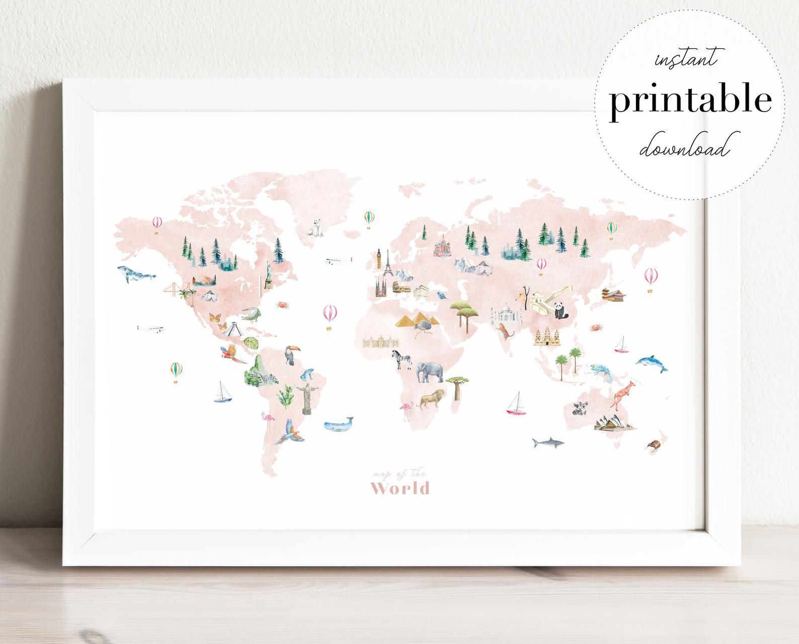 Illustrated World Map Printable, wall art print, nursery decor, landmarks, kids room, travel print, #worldmapmural