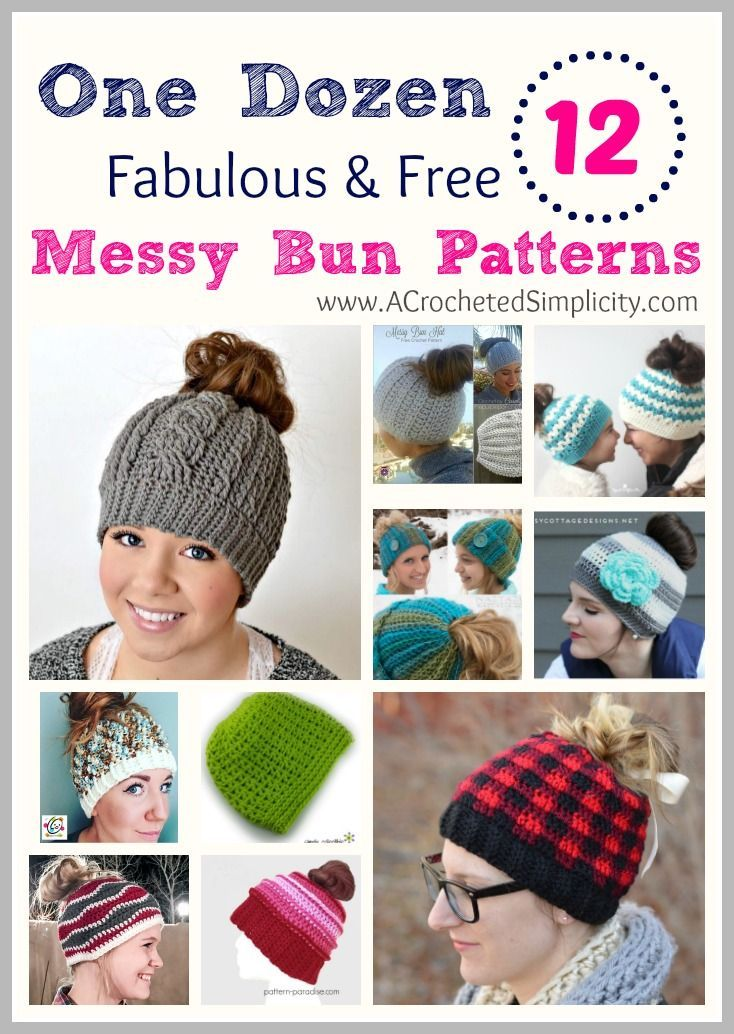One Dozen (12) Fabulous & Free Messy Bun Hat Crochet Patterns - a ...
