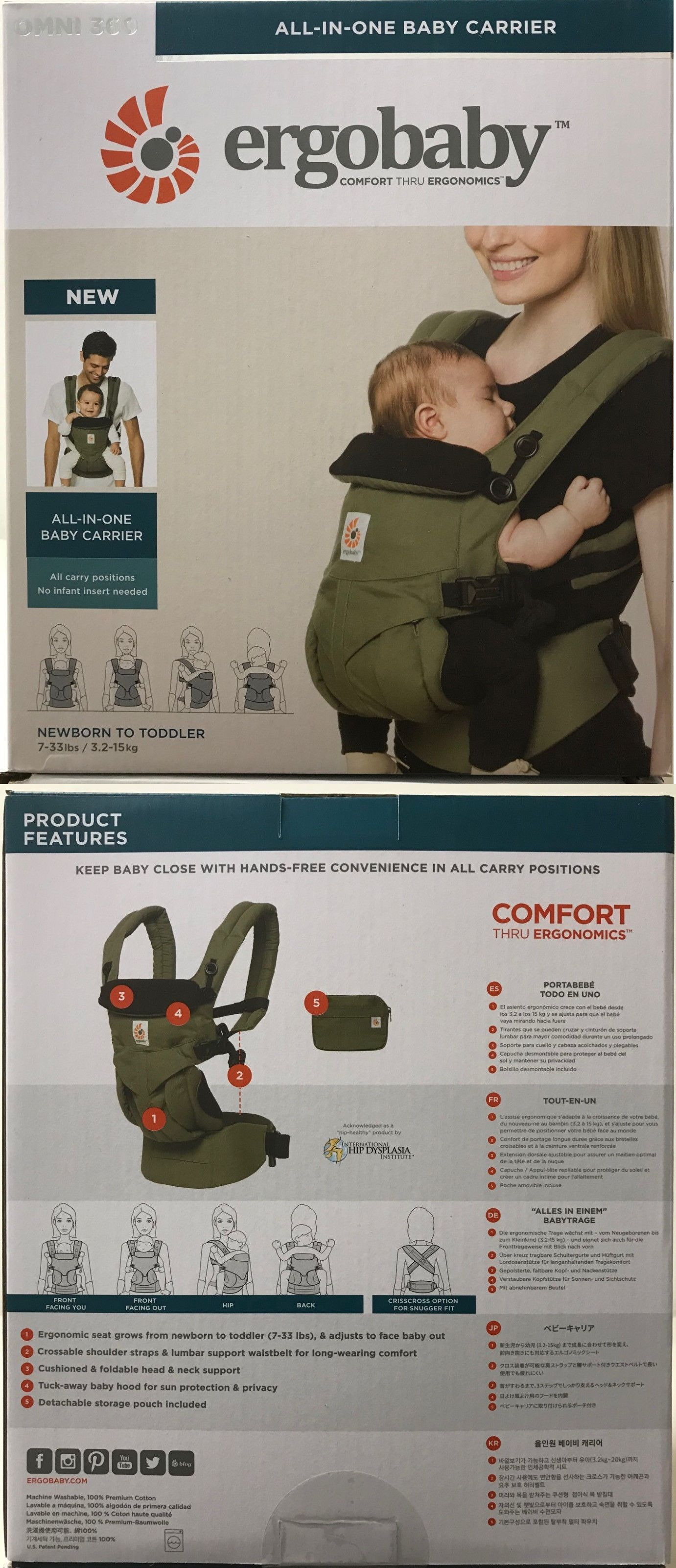 824b0356f78 Carriers Slings and Backpacks 100982  Ergobaby Omni 360 4 Position Infant  Child Baby Carrier Khaki Green New Authentic -  BUY IT NOW ONLY   144 on  eBay!