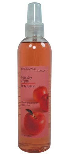 Bath & Body Works Pleasures Country Apple Body Splash 8 oz by Bath & Body Works. $7.75. Crisp, Fresh combination of Ripe, Red Apples and Creamy Blossoms. Infused with Natural Apple Extract and Conditioning Aloe Vera. Bath and Body Works Pleasures Collection. Manufacturer Discontinued Item and Scent. Durable 8 fl oz Spray Bottle. Bath & Body Works Pleasures Country Apple Body Splash 8 fl oz.  This crisp, fresh combination of ripe, red apples and creamy blossoms is as deli...