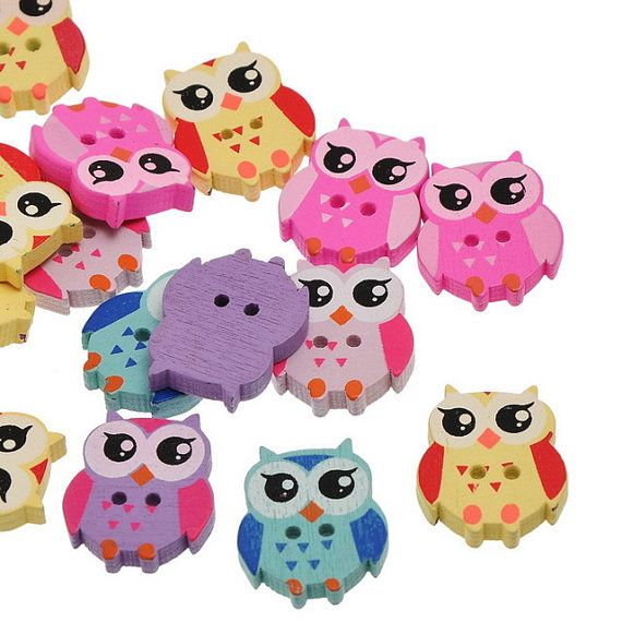 pack of 12 owl shape buttons two hole mix of colour by edithcrafts