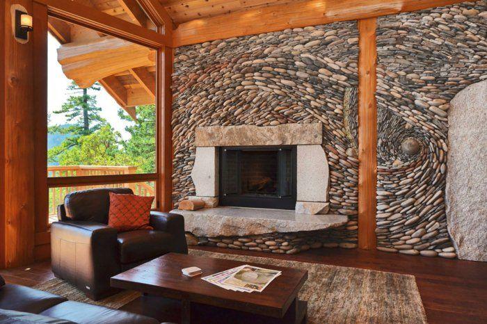 dekosteine wand kamin teppich wohnzimmer einrichten Home Sweet