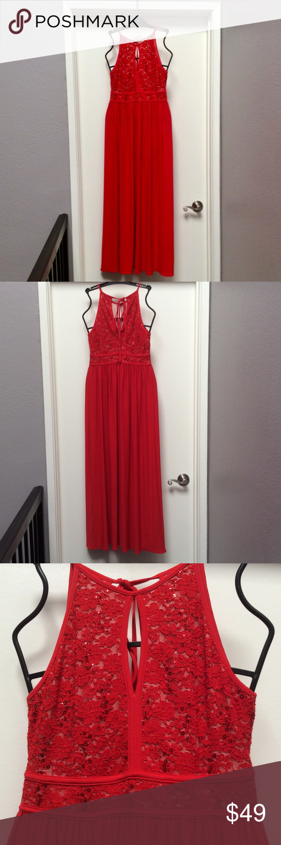 Nightway long red formal dress with lace top my posh picks