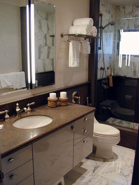 Towel Shelf Design Pictures Remodel Decor And Ideas Note Suspended Vanity Towel Rack Exten Hotel Bathroom Design Redesign Small Bathroom Bathroom Redesign