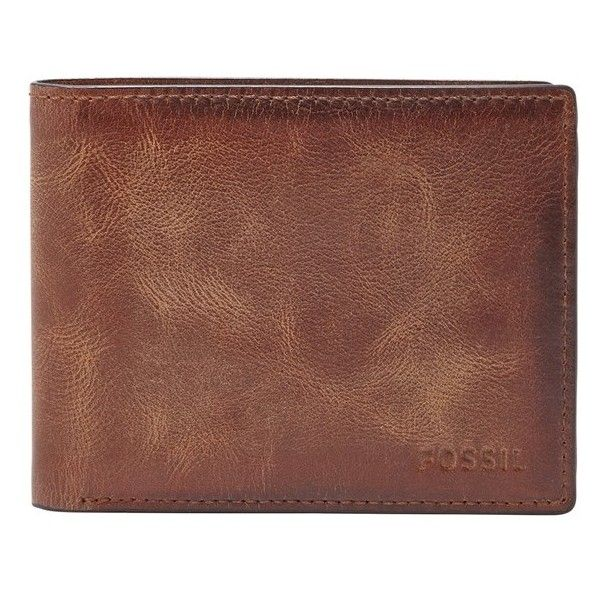 131024696 Men's Fossil 'Derrick' Rfid Leather Bifold Wallet ($45) ❤ liked on Polyvore  featuring men's fashion, men's bags, men's wallets, brown, mens leather  wallets ...