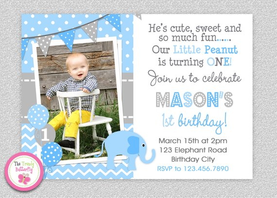 Elephant Birthday Invitation 1st Party Pink